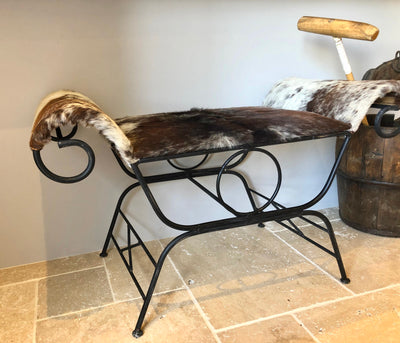 Cowhide Stool/Bench On Unique Wrought Iron Base