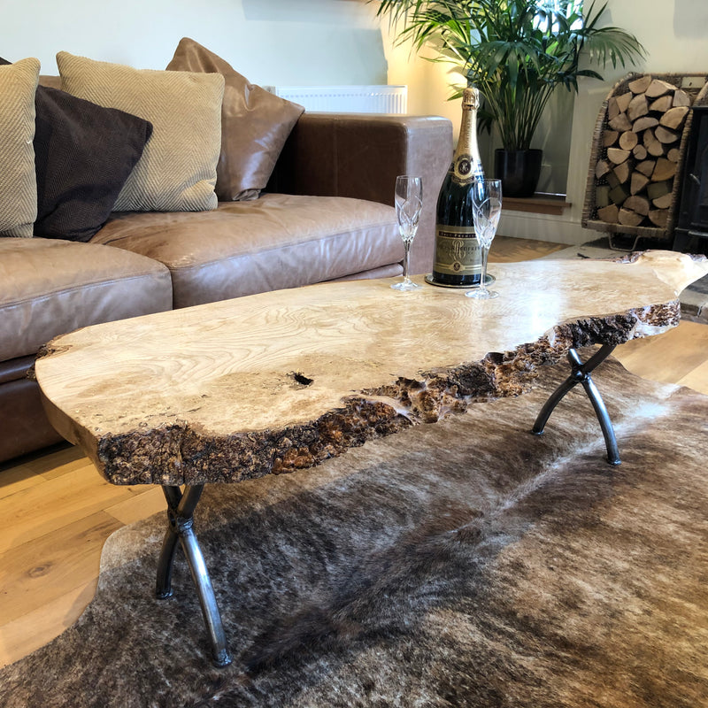 Ash Burr Teardrop Coffee Table on Iron Cross Legs