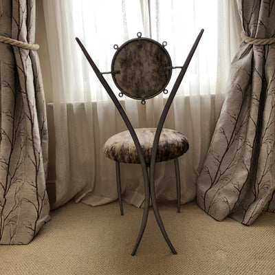 Statement Steel and Cowhide Chair - Vintage French Frame with Beige Brindle