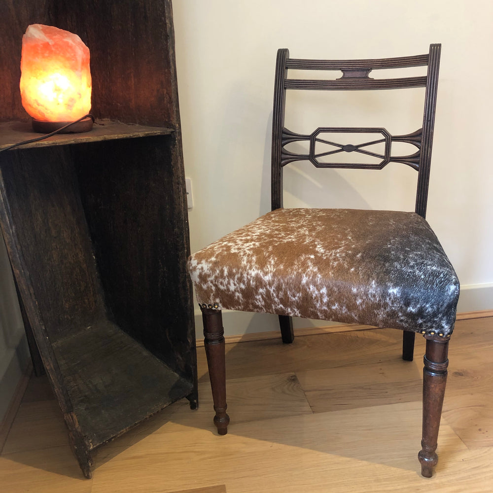 Antique Mahogany Chair with Speckled Black and Tan Cowhide