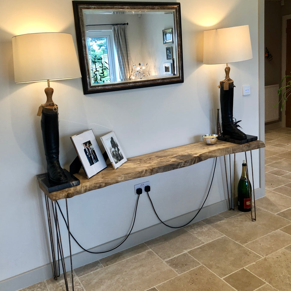 Spalted Sycamore Console Table on Antiqued Brass Hairpin Legs