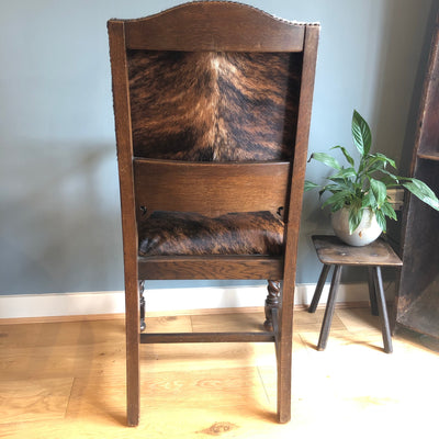 Antique Carved Mahogany Occasional Chair with Brown and White Cowhide