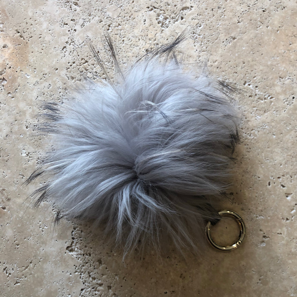 Ultimate Pompom Keyring - Grey