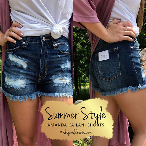 Distressed Denim Shorts from Wild Roots Live Free Boutique