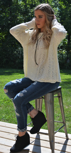 Ivory Sweater with lace cutouts