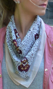 White Western scarf with flowers