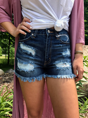 Denim ripped shorts front view