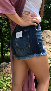 Denim ripped shorts side view