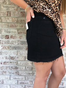 Black distressed skirt side view