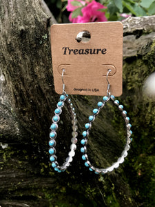 Treasure Tear Drop Turquoise Beaded Earrings
