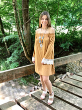 Off the Shoulder Dress in Camel View 2