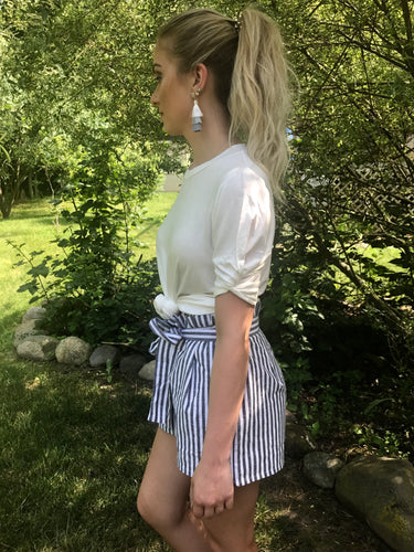 ruffled top belted shorts with gray and white stripes