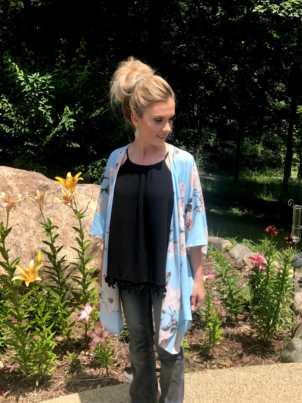 Blue Floral Kimono Top over Black Tank