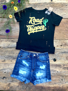 vintage black tee paired with KanCan denim cut offs
