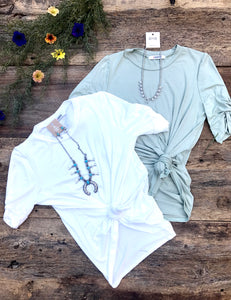 sage and ivory twist sleeves tht git a little longer and looks perfect with a little knot in the front