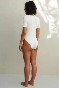 The Matilda Bodysuit - White Ribbed
