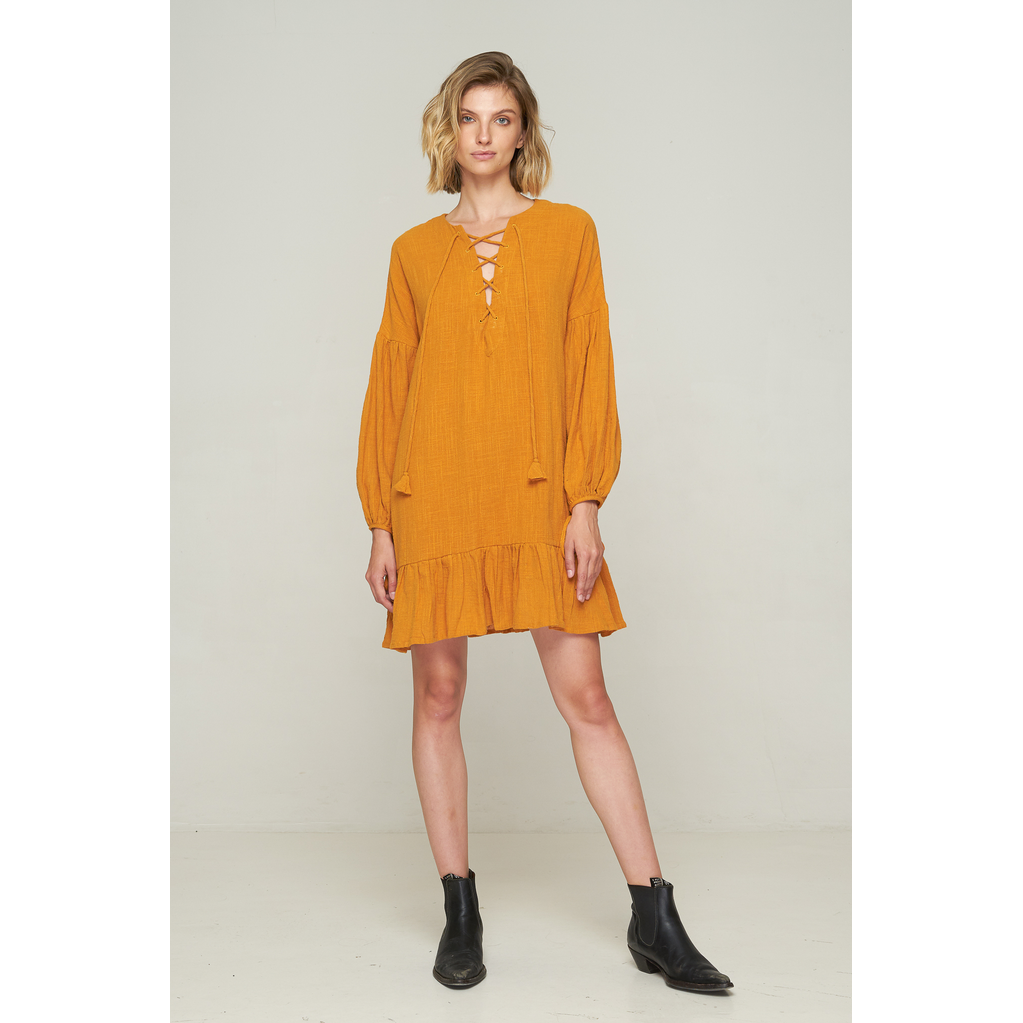 Kelley lace Up Dress - Tobacco