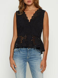 Here Comes The Sun Peplum Top - Black
