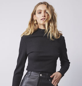 Long Sleeve Rib Top - Black