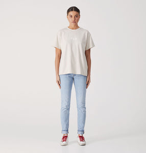 Script Embroidered Tee - Sand