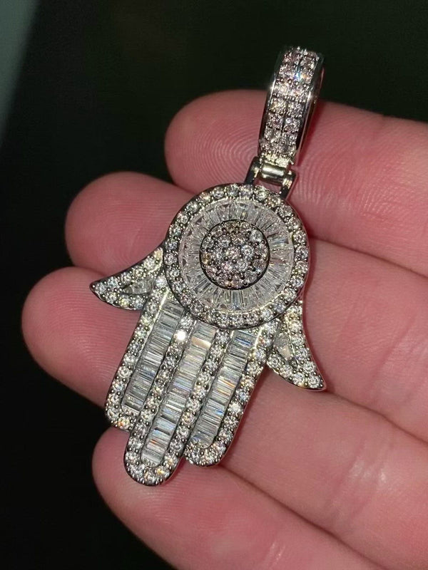 Iced out Hamza hand pendant and chain