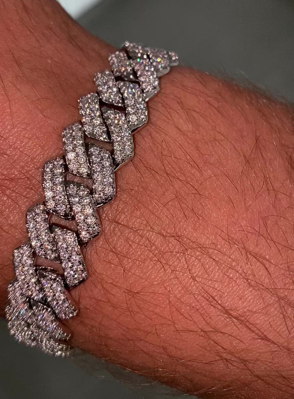 Iced out Cuban link bracelet edgy