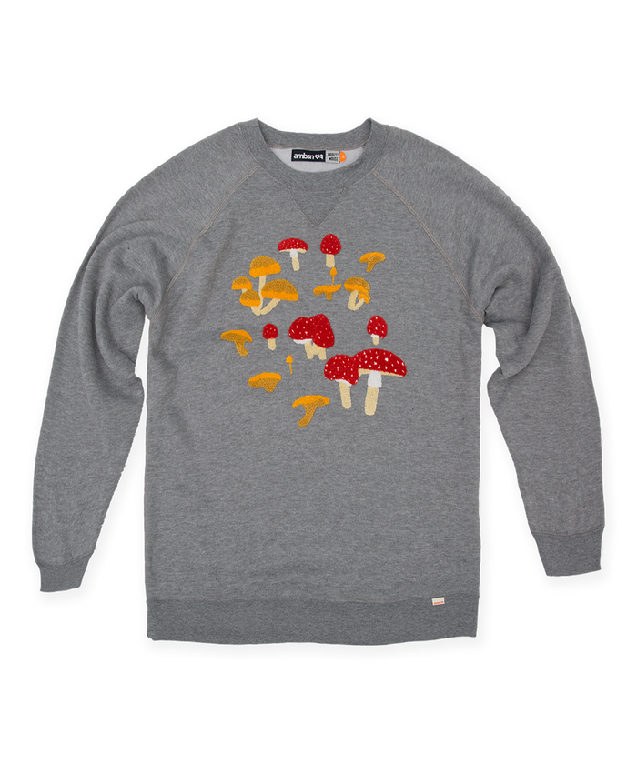 Modest Mouse Ambsn Crew Neck Mushroom Sweatshirt - Heather