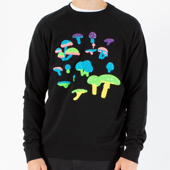 Modest Mouse Ambsn Crew Neck Mushroom Sweatshirt -  Black