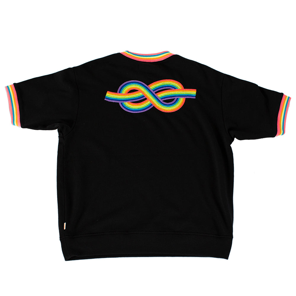 Modest Mouse Rainbow Knot Short Sleeve Sweatshirt - Black