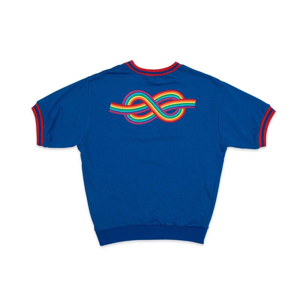 Modest Mouse Rainbow Knot Short Sleeve Sweatshirt - Blue