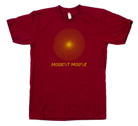 Modest Mouse Starburst Tee Shirt - Cranberry/Yellow