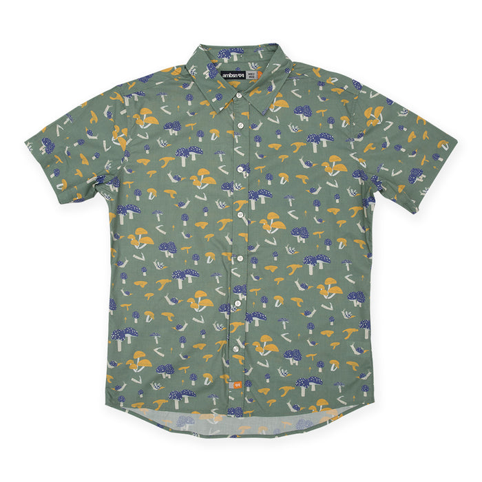 Modest Mouse Ambsn Mushroom Design Woven Short Sleeve Olive