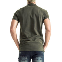 Mens-Golfer-T-Shirt-Tee-Olive-Back-View