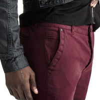 Mens-Chino-Stovepipe-Pants-Burgundy-Red
