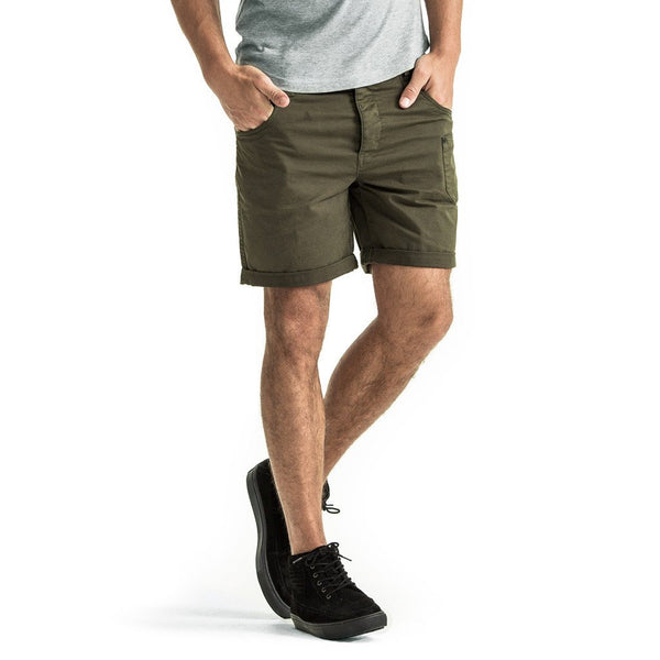 Mens-Chino-Shorts-Olive-Green-Cotton-Front-View