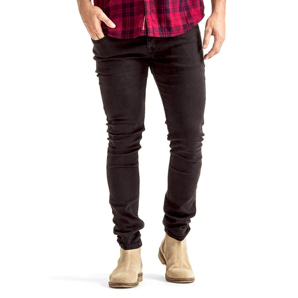 Mens-Jeans-Slimfit-Black-Denim-Front-View