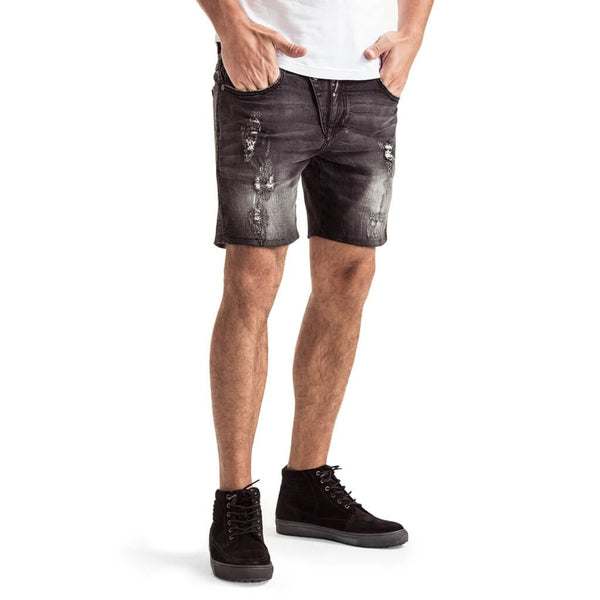 Mens-Denim-Shorts-Black-Front-View