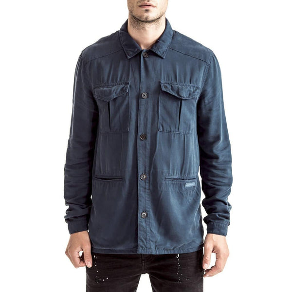 Mens-Shacket-Shirt-Indigo-Blue-Cotton-Front-View