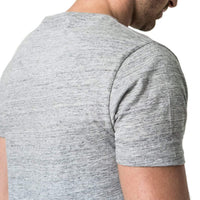 Mens-100%-Cotton-Tee-T-shirt-Grey-Melange-Applique-Short-Sleeve