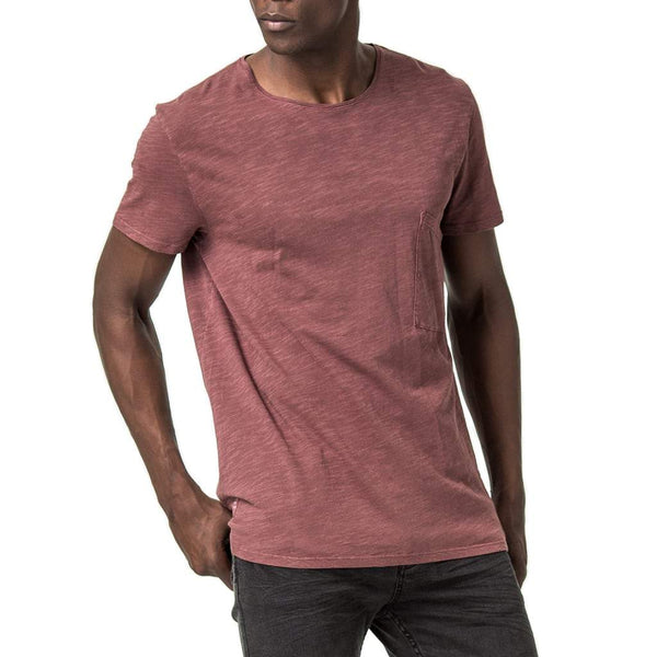 Mens-Cotton-Slub-Relaxed-Fit-Tee-T-shirt-Dusty-Pink-Front-View
