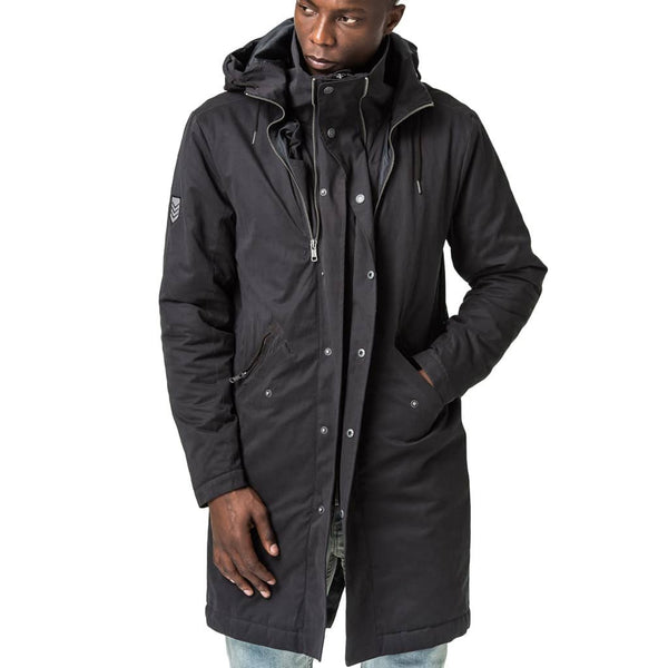 Mens-Jacket-Parka-Black-Front-View