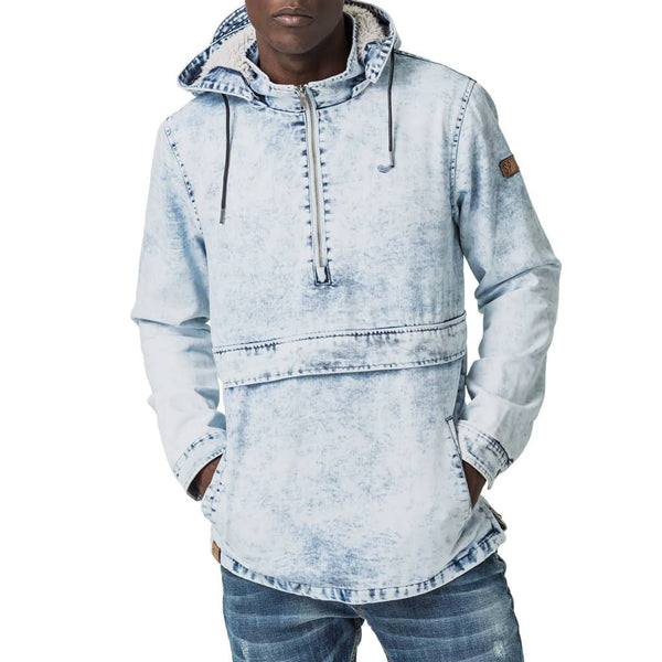 Mens-Pullover-Jacket-Blue-Bleach-Front-View
