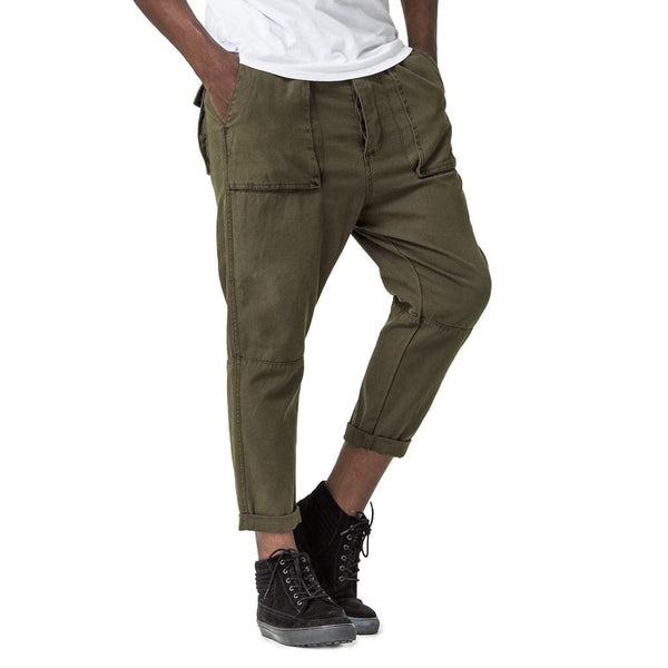 Mens-Cropped-Pants-Olive-Green-Front-View