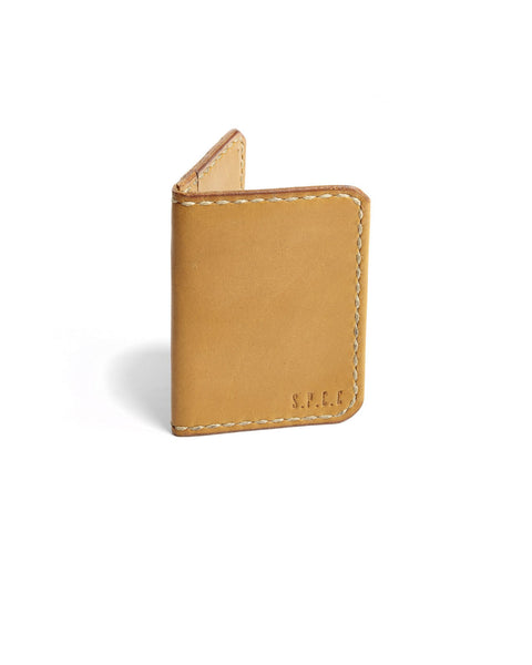 SPCC | Sergeant Pepper Card Holder| Leather | Tan | Fold open | Small Wallet