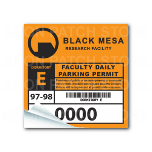Black Mesa Parking Sticker (Numbered Series)