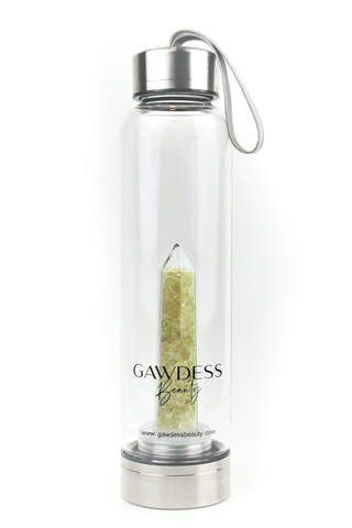 Citrine - Crystal Energy Stone Infused Glass Water Bottle