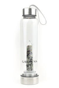 Fluorite - Crystal Energy Stone Infused Glass Water Bottle