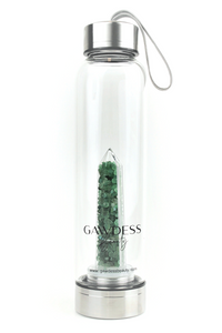 Green Aventurine - Crystal Energy Stone Infused Glass Water Bottle