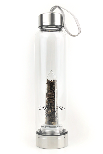 Tiger Eye - Crystal Energy Stone Infused Glass Water Bottle