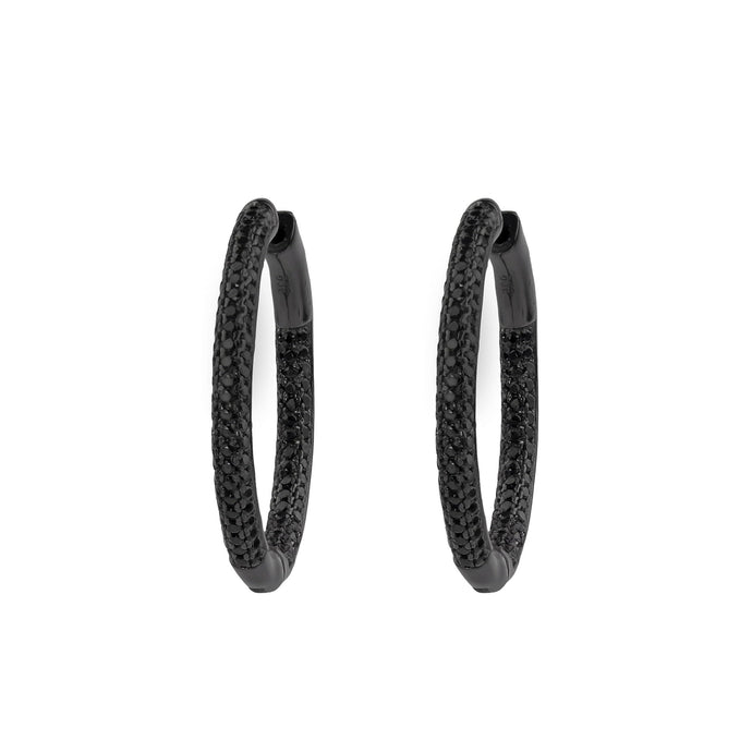 Frosted | Small Black Pave Hoop Earrings